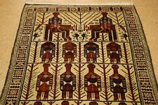 c1910 ANTIQUE CAMEL HAIR_WOOL_HUMAN SUBJECTS PERSIAN BALOUCH_BALOUCHI RUG 4x6.10