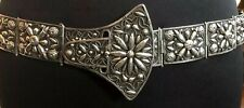 RARE Mexican Antique  Silver ORNATE BUCKLE MOTIF  Belt Super Heavy