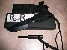 Rogue River Tactical Black Special Forces Combat Survival Knife w/Fire Starter