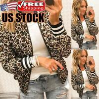 Women Leopard Printed Zip Up Bomber Jacket Ladies Biker Coat Casual Tops Outwear