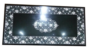 "20""x30"" Black Marble Coffee Table Top Inlay Mother Of Pearl Handmade Decors B824"