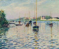 Boats At Argenteuil Gustave Caillebotte Fine Art Print Canvas Painting Poster SM