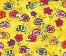 """OOP! HTF! LADY BUGS ALLOVER ON YELLOW BY TIMELESS TREASURE - FQ - 18""""X22"""""""