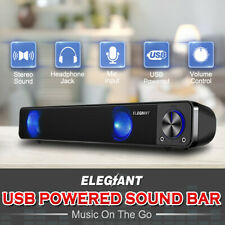 ELEGIANT USB Multimedia Speaker Audio Sound Bar TV Soundbar Computer PC Laptop