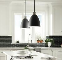 Varus 10.5 in. 1-Light Black Pendant w/Brushed Nickel Accents +White Inner Shade