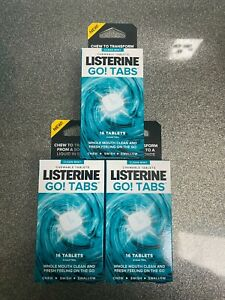 LISTERINE GO TABS 3 X 16= 48 TABS * CLEAN MINT CHEWABLE TABLETS* 06/2022**