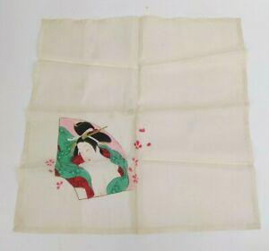 VTG 1950s Japanese Ukiyo-e Handkerchief Geisha Pure Silk Utamaro Bijin-ga Shunga