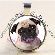 Pug Dog Photo Cabochon Glass Tibet Silver Chain Pendant Necklace#CB69