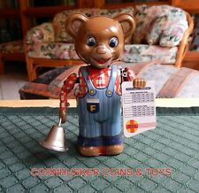 VINTAGE TIN WIND UP FOSSIL STREAM LINERS  SCHEDULE BEAR JAPAN ~ WORKING ~ RARE