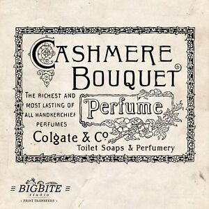 WATER DECAL: French Perfume Colgate Cashmere Vintage (Shabby Chic Transfer) #032