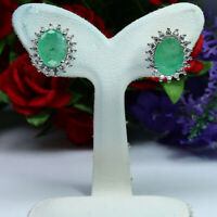 NATURAL 7 X 9 mm. OVAL GREEN EMERALD & WHITE CZ EARRINGS 925 STERLING SILVER