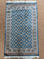 Blue and Ivory Turkish Carpet, Persian Design, Small Size