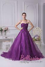 Lila weiß elfenbein Organza Hochzeitskleid Braut ABENDKLEID SIZE20,22,24,26,28