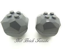 Lego 2 x Dark Grey Boulder / Rock 30293 30294