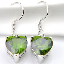 Heart Style Solid Silver Dangle Drop Earrings With Real Peridot Gemstone