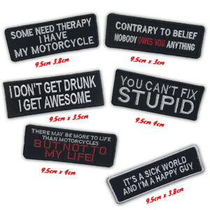 Bikers Badges Messages riders life style fashion Iron/Sew on Embroidered Patch