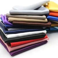 26pc Fashion Men Silk Solid Handkerchief Pocket Square Hanky Plain Wedding Party