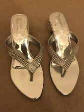 Silver Rhinestone/Diamanté Sandals/Slippers Size 6/Euro 39 Brand New