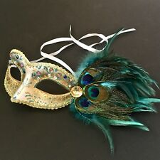 Female Peacock Feather Colorful Design Mask With Clear Rhinstones