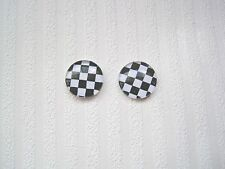 BLACK & WHITE CHEQUER Stud 12mm Silver Plated Earrings Ska Monochrome 1960's