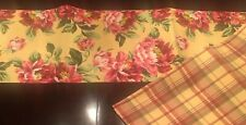 "Noble Excellence Table Runner Peonies Floral Plaid Yellow Green Rose 14""x90"""