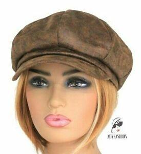 Women's Baker Boy Hat Faux Leather Ladies Newsboy Cap BROWN Distressed Vintage