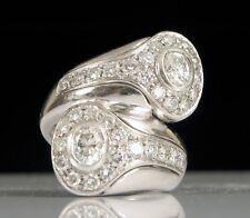 TWO STONE ART DECO STYLE DIAMOND PLATINUM RING SUPER HEAVY FLASHY S7.5 ITALY !