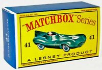 Matchbox Lesney No 41 JAGUAR D TYPE empty Repro D style Box