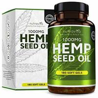 Hemp Seed Oil 1000mg Supplement 180 Soft Gel Capsules  Pure Cold Pressed Oil