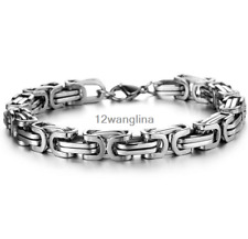Stainless Steel Silver Byzantine Box Chain Link Bracelet Men's Women's 5mm 7-11""