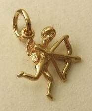 SOLID 9ct Yellow Gold 3D ANGEL CUPID GOD OF LOVE  BOW and ARROW Charm Pendant