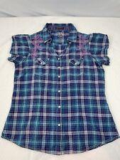 Rock 47 By Wrangler Rhinestone Snap Womens L Cotton Western Plaid Shirt