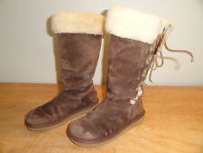 Women's Brown Leather & Sheepskin UGG AUSTRALIA Upside #5163 Winter Boots Sz-9