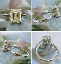 3+Ct White Yellow Emerald Moissanite Diamond Engagement Ring 925 Sterling Silver