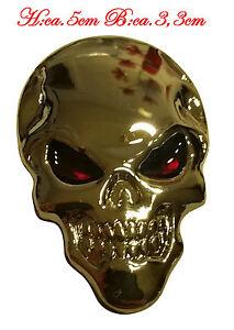 ☼ METALL Totenkopf Kopf 3D Aufkleber Silber Skull Auto PKW Sticker Emblem