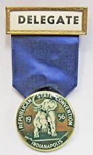 1956 REPUBLICAN STATE CONVENTION DELEGATE Indianapolis pinback badge medal