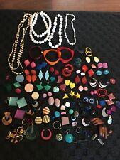Mid Century Modern Costume Jewelry 70s 80s Earings Metal Bakelite Lot Mix