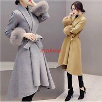 Korean Womens Slim Fit Belt Lapel Collar Trench Mid Long Wool Blend Jacket Coats
