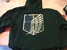 Attack on Titan Shingeki no Kyojin Green Sweatshirt Hoodie Pullover US Size XL