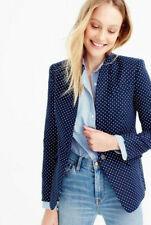 J CREW Regent navy blue polka dot blazer linen size 6 EUC $198