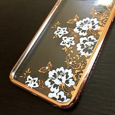 For iPhone 6+ / 6S+ Plus - HARD TPU RUBBER CASE GOLD WHITE DIAMOND BLING FLOWERS