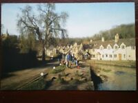 POSTCARD WILTSHIRE CASTLE COMBE P VIEW ALONG THE STREAM