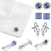 Men Crystal Cufflinks Tie Clip Claps Wedding Business Party Suit Shirt Cuff Link