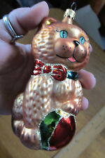 "Large Pet Kitty Cat Glass Christmas Ornament for the Holiday - 5 1/2"" Tall"