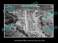 OLD LARGE HISTORIC PHOTO OF YSTRAD MYNACH WALES, AERIAL VIEW OF THE TOWN c1930