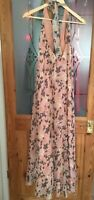 ASOS Halter Maxi dress Sz10, kick flared and lined. peach pink floral lined