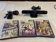 XBOX 360 Kinect Sensor Bar Model 1414 Black with Power Adapter And 3 Games C15