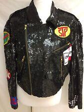 VINTAGE Black SEQUIN And Car Patch Modi Jacket Large Euc