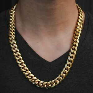 Mens Miami Cuban Link Chain Real 18k Yellow Gold Solid Lifetime Warranty