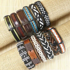 12pcs Men Jewelry Genuine Leather Bracelets Wholesale Women Men Bangles-D60